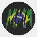 Muttahida Majlis-E-Amal brasileño de la bandera Pegatinas Redondas