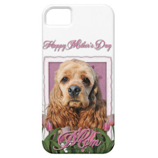 Mutter-Tag - rosa Tulpen - Cocker spaniel iPhone SE/5/5s Case
