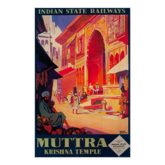 Muttra Krishna Temple Travel Poster