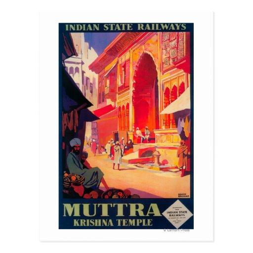 Muttra Krishna Temple Travel Poster Post Card