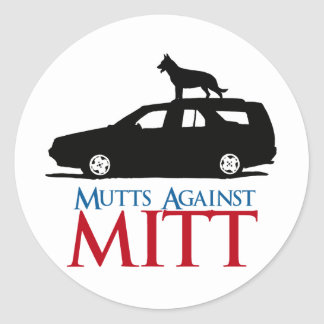 Mutts contra Mitt Romney .png Pegatina Redonda