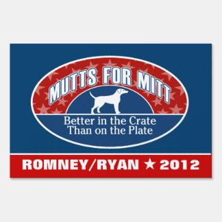 Mutts for Mitt - funny slogan for Romney Ryan Yard Sign