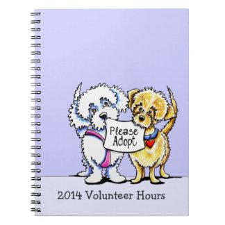 Mutts lindos del expediente voluntario de las libro de apuntes