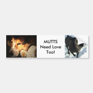 MUTTS Need LoveToo! Car Bumper Sticker