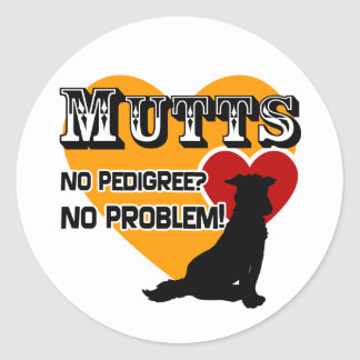 Mutts: ¿No pedigrí? ¡Ningún problema! Etiquetas Redondas