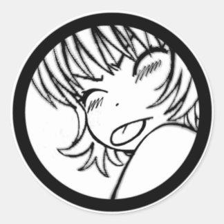 muuhh - cute anime - kawaii >_< classic round sticker