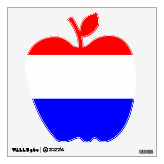 Muurdecoratie appel in rood~wit~blauw wall decal
