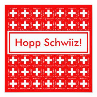 """Muy suizo - Hopp Schwiiz, va fiesta de Suiza Invitación 5.25"""" X 5.25"""""""
