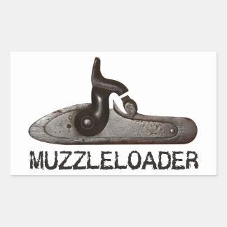 Muzzleloader breech & hammer, black powder rifle rectangular sticker