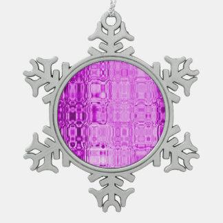 MVB  Glass Girly Pink Snowflake Snowflake Pewter Christmas Ornament