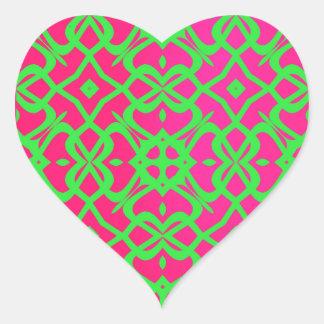 MVB X Lace Pattern Sticker- Hot Pink & Lime Green Heart Sticker