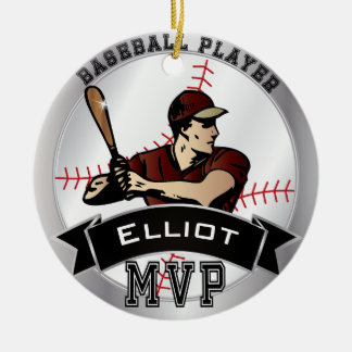 MVP Baseball Player Ceramic Ornament
