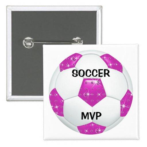 MVP ROSADO del ~ del balón de fútbol de las piedra Pin Cuadrado