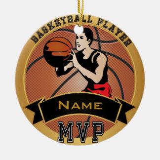 MVP Vintage Basketball Player | DIY Text Double-Sided Ceramic Round Christmas Ornament