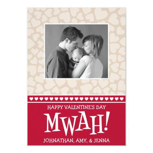 MWAH! Valetine's Day Photo Card (Dark Red / Beige)