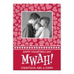 MWAH! Valetine's Day Photo Card (Dark Red) Personalized Announcement