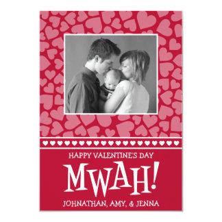 MWAH! Valetine's Day Photo Card (Dark Red)