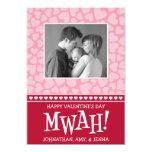 MWAH! Valetine's Day Photo Card (Dark Red / Pink) Invite