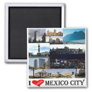 MX - Mexico - Mexico City - I Love Mosaic Collage Magnet