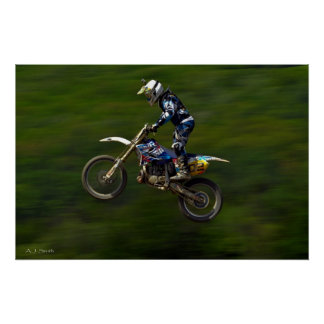 MX motocross racer getting big air Poster