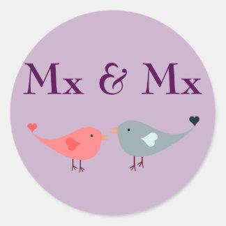 Mx & Mx (wedding) Classic Round Sticker