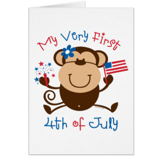 My 1st 4th Girl Monkey Card