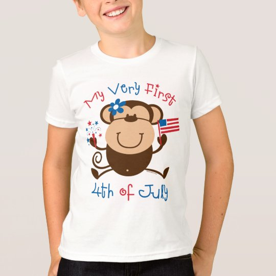 My 1st 4th Girl Monkey Kids T-shirt