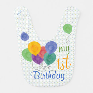 My 1st Birthday Balloons (green/blue) Bib