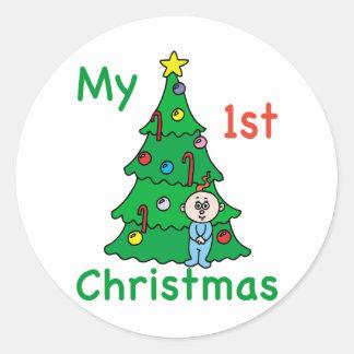 My 1st Christmas Classic Round Sticker