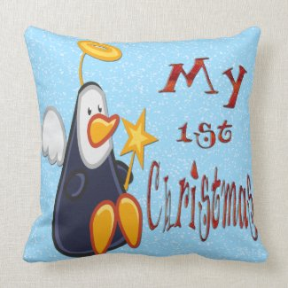 My 1st Christmas - Penguin Angel Newborn Pillow