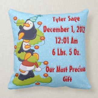 My 1st Christmas - Penguins Keepsake Pillow