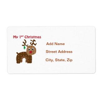 My 1st Christmas - Reindeer Label
