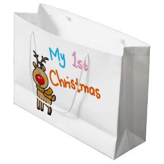 my 1st Christmas (reindeer) Large Gift Bag