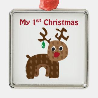 My 1st Christmas - Reindeer Metal Ornament