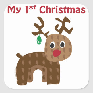 My 1st Christmas - Reindeer Square Sticker