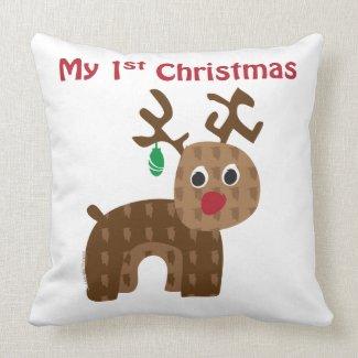 My 1st Christmas - Reindeer Throw Pillow