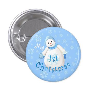 Christmas Themed My 1st Christmas Snowman Button