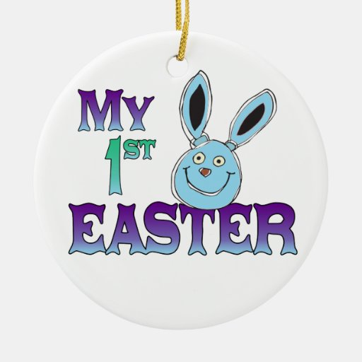 My 1st Easter Blue Bunny Ceramic Ornament