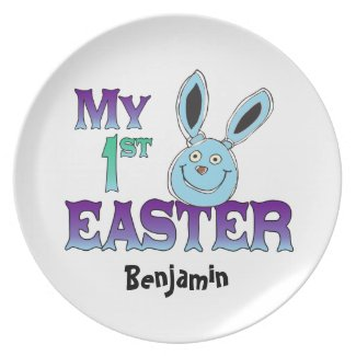 My 1st Easter Blue Bunny Party Plate