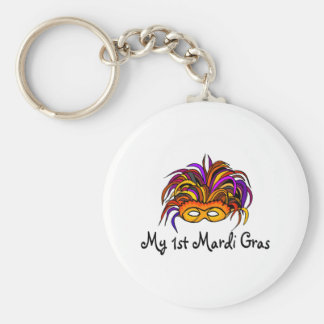 My 1st Mardi Gras Basic Round Button Keychain
