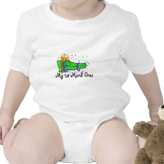 'My First Mardi Gras' Infant Onesie with Alligator and Beads