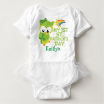 My 1st St. Patrick's Day Cute Owl Baby Bodysuit