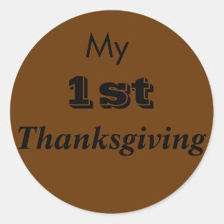 My 1st Thanksgiving Round Baby Sticker Clothing