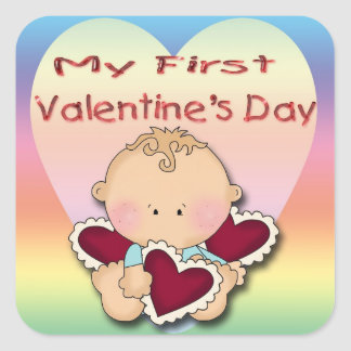 My 1st Valentine's Day (boy) Square Stickers