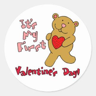 My 1st Valentine's Day Classic Round Sticker