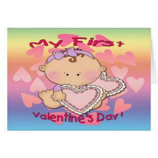 My 1st Valentine's Day (girl) Greeting Card