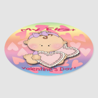 My 1st Valentine's Day (girl) Oval Stickers
