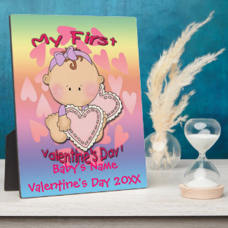 My 1st Valentine's Day (girl)  Plaque With Easel