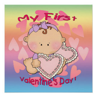 "My 1st Valentine's Day (girl) Poster 20""x20"""