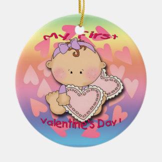 My 1st Valentine's Day (girl)  Round Ornament